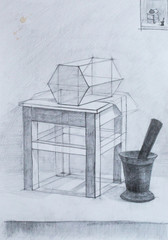 Still life, pencil drawing