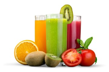 Diet. Fresh vegetable juices isolated on white