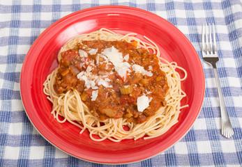 Spaghetti in Red Plate.