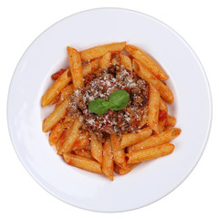 Pasta Rigate Bolognese oder Bolognaise Sauce Nudeln Freisteller