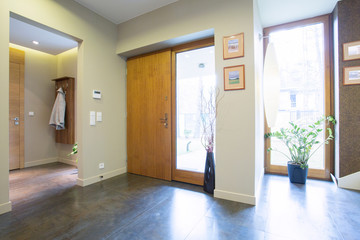 Hallway with rear doors