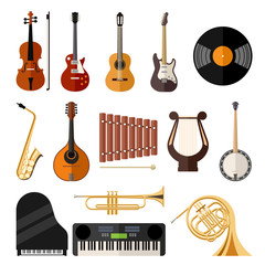 vector music instruments flat icons