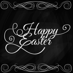 Happy Easter Typographical Background On Blackboard