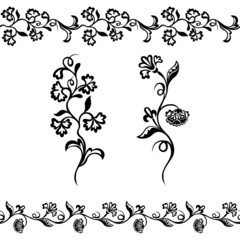 floral pattern, silhouette ornament black
