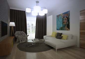 Modern loft Living room interio