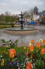 The war  memorial and fountain in Honfleur France