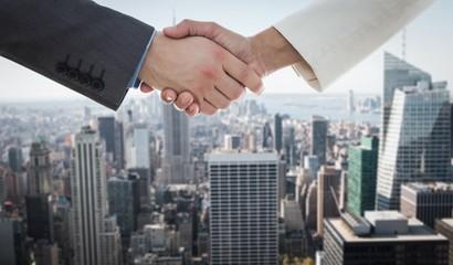 Shaking hands against new york