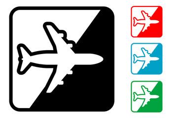 Icono simbolo avion en varios colores