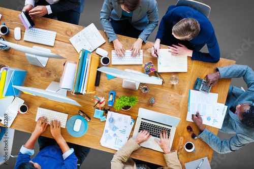 Leinwanddruck Bild Business People Working Office Corporate Team Concept