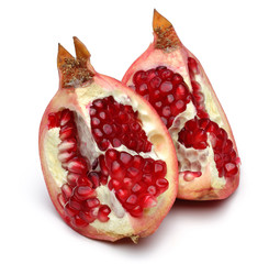 Two slices of sweet pomegranate