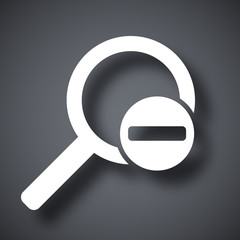 Vector magnifier icon with minus sign