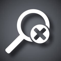 Vector magnifier icon with delete sign