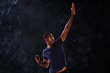 Composite image of serious young man with hand gestures