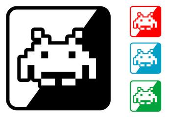 Icono simbolo marciano videojuego en varios colores