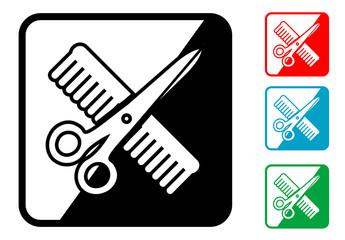 Icono simbolo peluqueria en varios colores