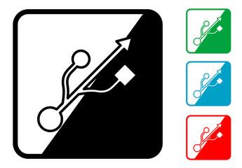 Icono simbolo USB en varios colores