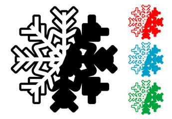 Pictograma estrella de nieve en varios colores