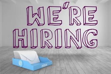 Recruitment message above blue inbox