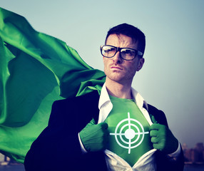 Target Strong Superhero Success Professional Empowerment Concept