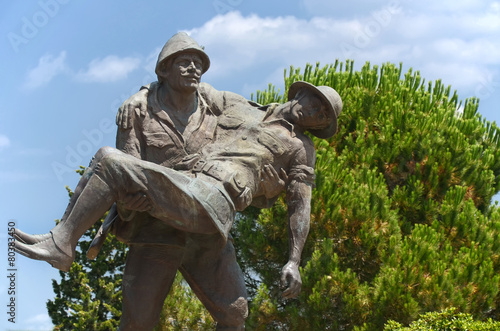 Turkish Soldier Carrying Australian Soldier, Canakkale, Turkey