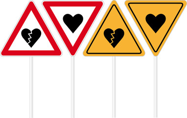 Heart road sign