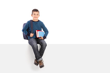 Schoolboy holding a couple of books seated on panel