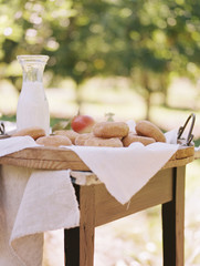 An apple orchard in Utah. A table with food.