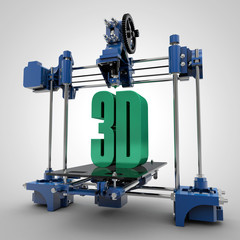 3d Printing Machine with 3D text Printed