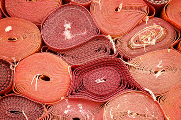 Closeup of Rolls of red mat