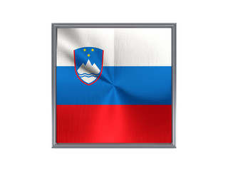 Square metal button with flag of slovenia
