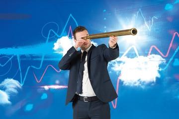 Composite image of businessman looking through telescope