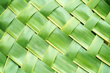 Zigzag interlocking of coconut leaves weave
