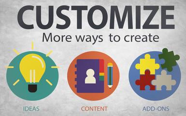 Customize Ideas Identity Individuality Innovation Personalize