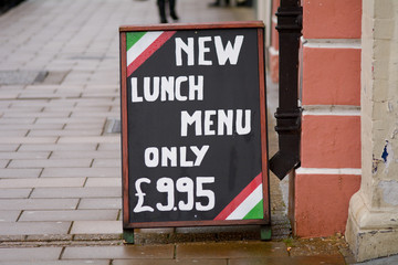 Lunch menu sign outside restaurant