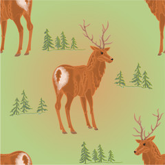 Seamless texture young deer in the forest vector