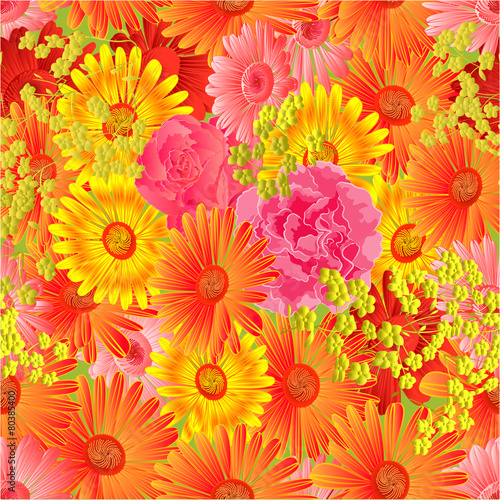 Seamless  texture gerbera and roses vector