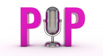 Pop Text Sign with Microphone