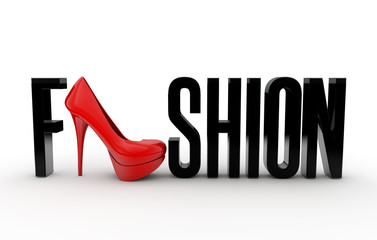 Fashion text with High Heel Shoe