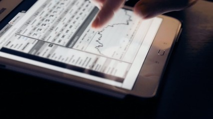finger touch tablet computer pc touchscreen with financial chart
