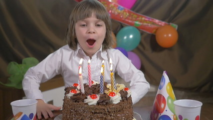 Young beautiful girl blowing candles on a birthday cake