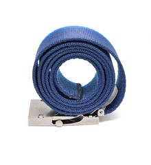 Blue rolled belt placed on a white background.