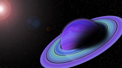 Planet with  ring and air space.