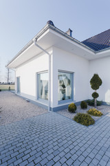 Detached house with white walls