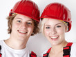 Two young worker having fun