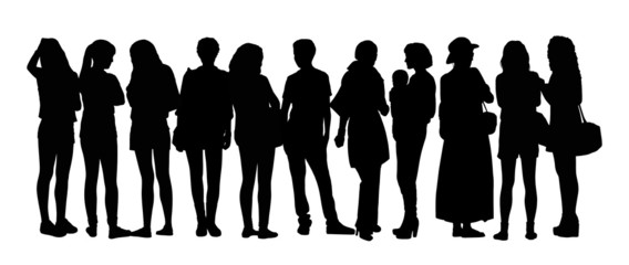 large group of people silhouettes set 10