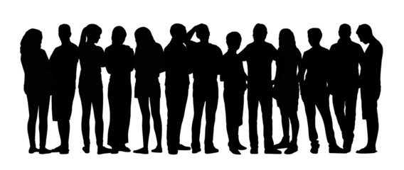 large group of people silhouettes set 9