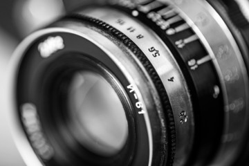Photographer. Old lens marking close up