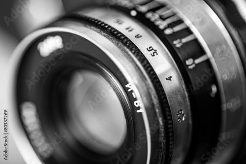 Fototapeta Photographer. Old lens marking close up