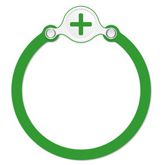 circular frame for your text and plus symbol
