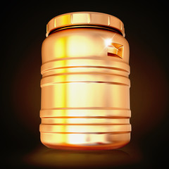 Golden plastic barrel  on a black background.